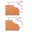 38-FR Pro felsőmaró profil D:31,8x12,7; H:54,2; A:8;C:9,5;R:4,8; Z:2