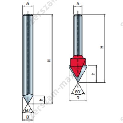 20-FR Pro felsőmaró V horonymaró D:8x8; H:70; A:8; a:60; Z:1