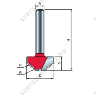 39-FR Pro felsőmaró profil D:19x9,8; H:41,5; A:6;R:2,4; Z:2