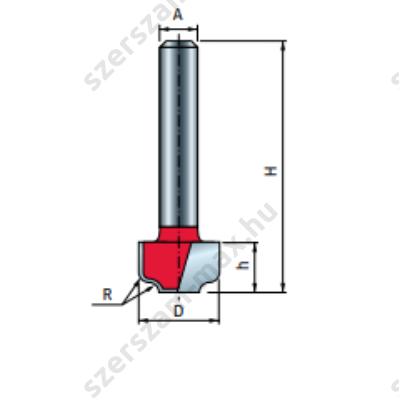 39-FR Pro felsőmaró profil D:12,7x8; H:40; A:8;R:1,6; Z:2