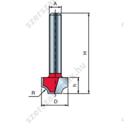 39-FR Pro felsőmaró profil D:12,7x8; H:50; A:6;R:3,2; Z:2