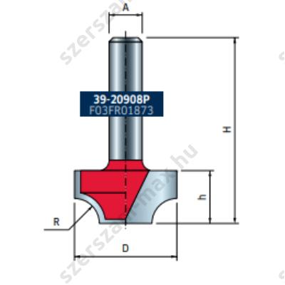 39-FR Pro felsőmaró profil D:24,7x12,7; H:44,7; A:8;R:6; Z:2