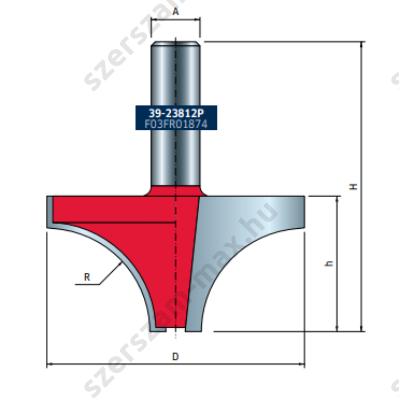 39-FR Pro felsőmaró profil D:63,5x33,3; H:71,3; A:12;R:25,4; Z:2