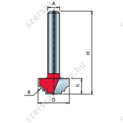 39-FR Pro felsőmaró profil D:12,7x9,5; H:41,5; A:8;R:1,2; Z:2