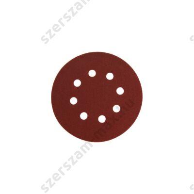 Csiszolókorong vászon,10db, 125mm, 8 db lyukkal, P100-es, tépőzáras