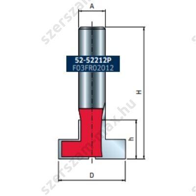 """52-FR Pro """"T"""" horony felsőmaró D:28,58x20,6; H:63,5; A:12; Z:2"""